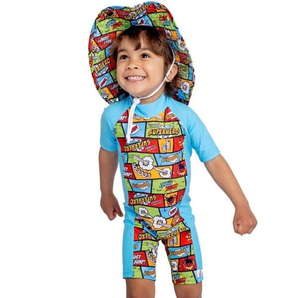 boys uv zip up suit short sleeves